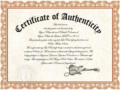 Certificate Of Authenticity  Lynn Ellsworth Guitars. Free Birthday Party Invitation Templates For Kids. Show Me Resume Samples Template. Free Budget Worksheet Dave Ramsey. Price Tag Template For Word. Personal Project Essay Examples Template. Sample P L And Balance Sheet Template. Ms Ofice For Mac Template. Restaurant Hostess Resume Examples Template