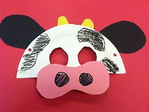 Easy cow mask made from a paper plate and construction ...