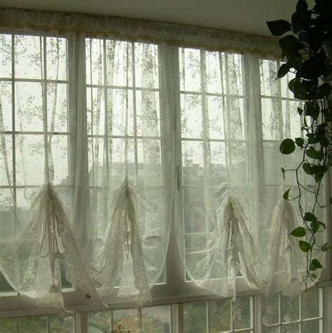 country lace austrian balloon shade sheer voile cafe kitchen curtain j ebay