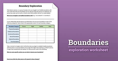 Boundaries Exploration (worksheet)  Therapist Aid