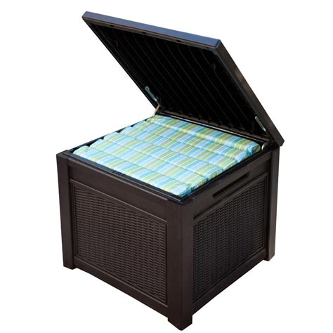 keter 55 gal resin rattan storage cube deck box 228979 the home depot
