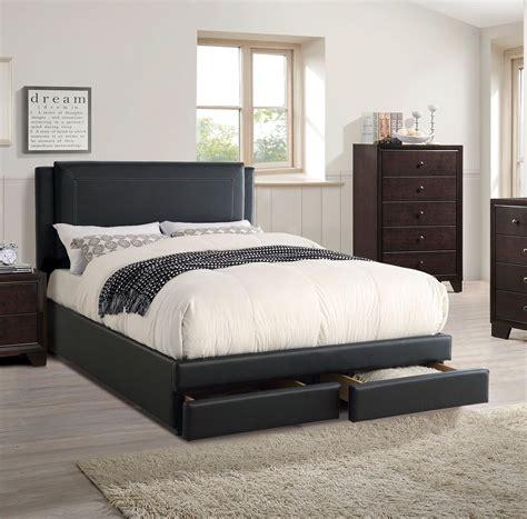 cal king storage bed bedroom set black faux leather comfort headboard 1pc bed bedroom sets