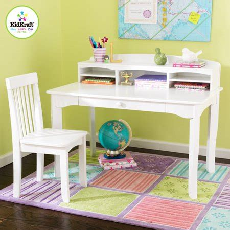 Kidkraft  Avalon Desk Set With Hutch And Chair, White. Wooden Office Desk. Chest Of Drawers Or Dresser. Modern Bistro Table. Kids Bed Desk. Cash Drawer For Square Stand. Fabrication Table. Minnie Mouse Art Desk. Soft Close Drawer Hardware Retrofit