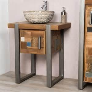 meuble sous vasque simple vasque en bois teck massif acier bross 233 factory rectangle