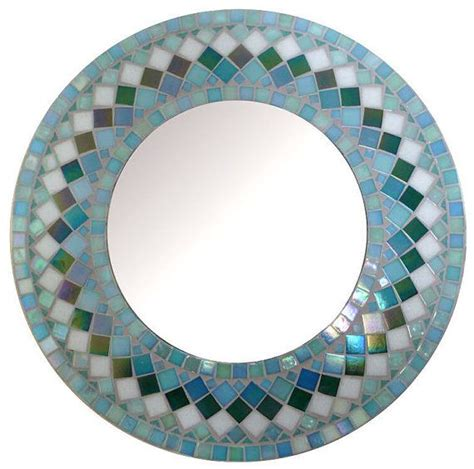 mosaic wall mirror choose size teal green rectangular square ov