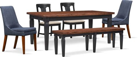 Adler Dining Table, 2 Side Chairs, 2 Upholstered Side