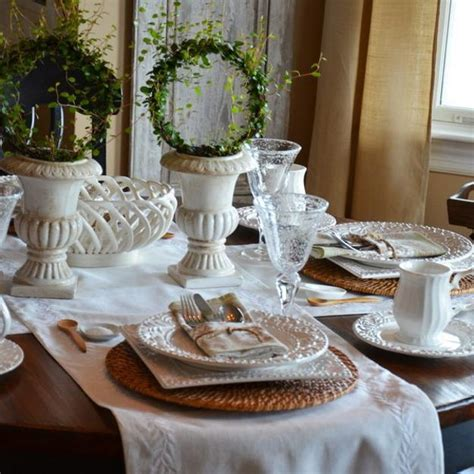 table decoration with white tableware rattan