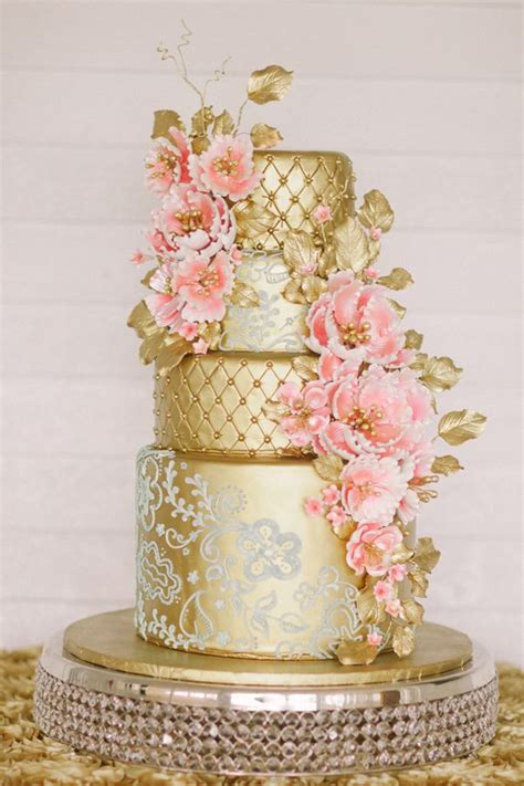 pink and gold cake 30 gold wedding cake ideas that sweeten your big day