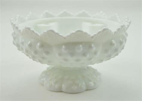 vintage fenton glass candle bowl epergne base hobnail