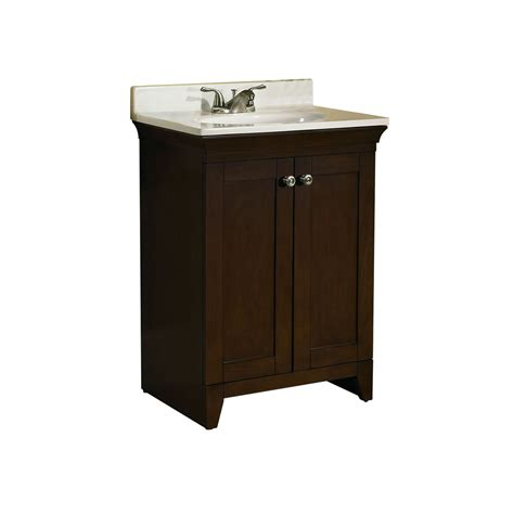shop allen roth sycamore nutmeg integral single sink poplar bathroom vanity with cultured