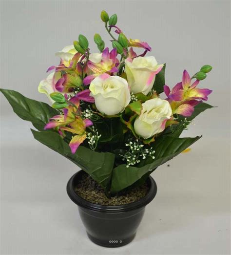 composition en pot plastique roses et orchid 233 es lest 233 e