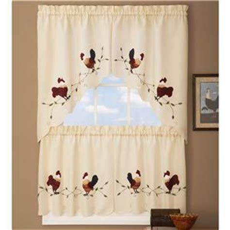 country rooster kitchen curtains tier swag set