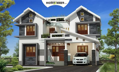 Attractive Exterior 4bhk Kerala Villa Design  Indian Home