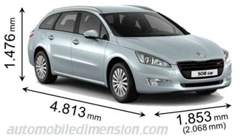 dimensions of peugeot cars showing length width and height