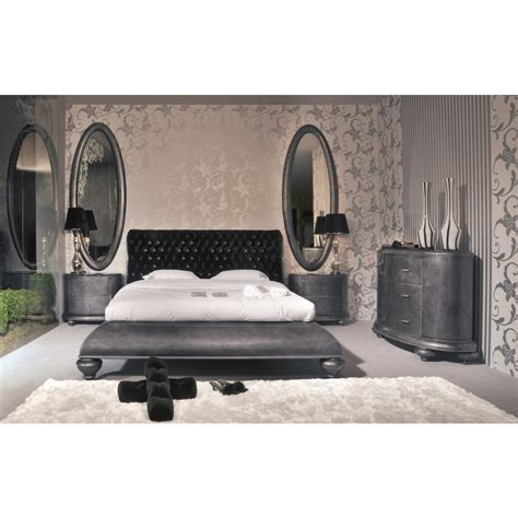 venezia grey gloss king size bed with velvet swarovski