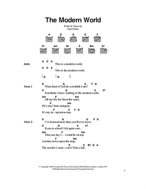 the modern world sheet by the jam lyrics chords 100437
