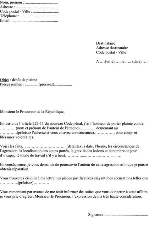 modele lettre plainte contre x document