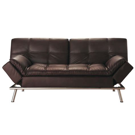 canap 233 clic clac convertible 3 places capitonn 233 marron denver maisons du monde