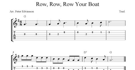 Sheet Music Row Your Boat by Row Row Row Your Boat Easy Free Guitar Sheet Music And Tabs