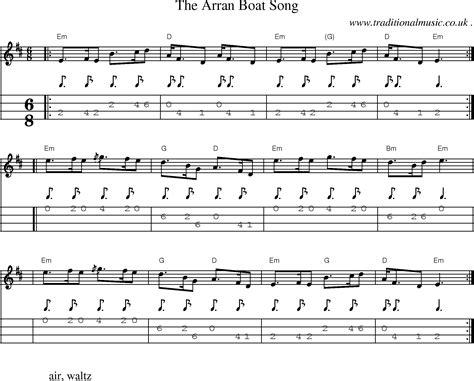 Mingulay Boat Song Sheet Music by Scottish Tune Sheetmusic Midi Mp3 Mandolin Tab And Pdf