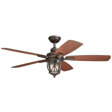 shop allen roth castine 52 in rubbed bronze downrod or mount indoor outdoor ceiling fan