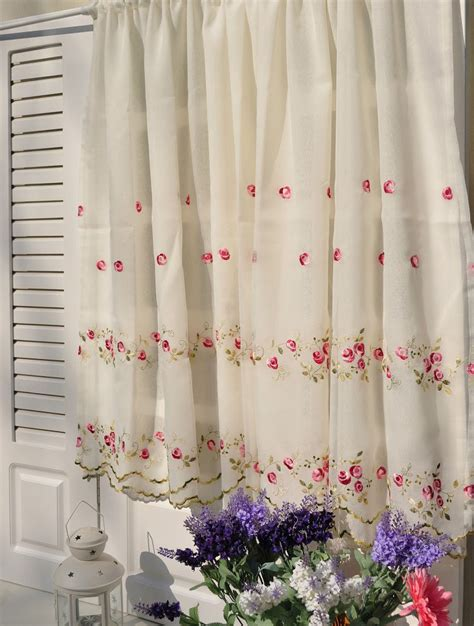country floral embroidered cafe kitchen curtain tier valance ebay