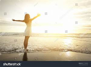 Smile Freedom Happiness Woman On Beach Stock Photo ...