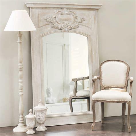 miroir trumeau en bois gris h 180 cm garance maisons du monde