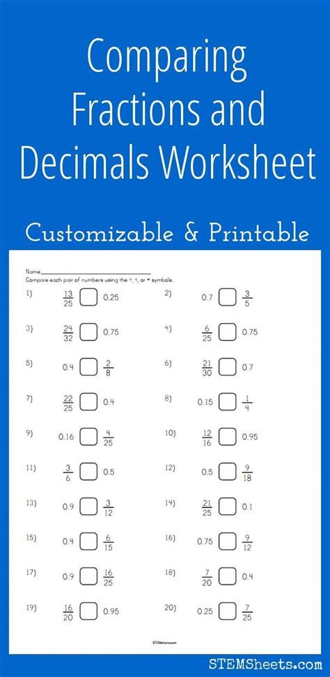 Comparing Fractions And Decimals Worksheet  Comparing Fractions Worksheet Stem Sheetsworksheets