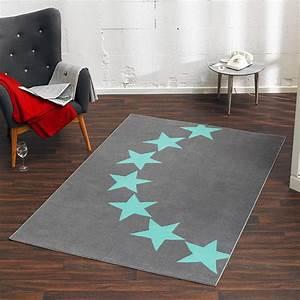 Teppich Stern Blau : design velours teppich sterne grau blau 140x200 cm 102327 teppiche kurzflor teppiche city line ~ Markanthonyermac.com Haus und Dekorationen