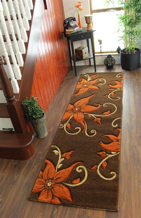 thick floral burnt orange brown beige soft hallway runner rugs sale ebay