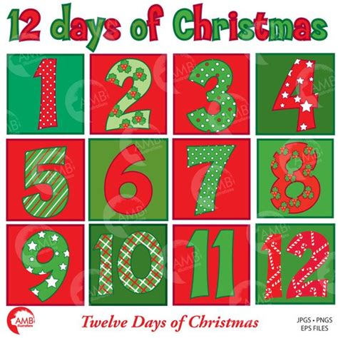 Christmas Numbers Clipart, Twelve Days Of Christmas, Christmas Number With Backgrounds