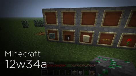 minecraft snapshot 12w34a cadres murets pots de fleurs pommes de terre