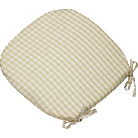 gingham check tie on seat pad 16 quot x 16 quot kitchen outdoor dining chair cushion