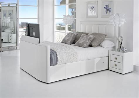 white leather tv bed leather kingsize tv beds the azure