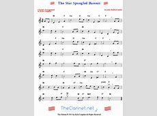 The Star Spangled Banner for clarinet free, printable