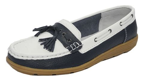 Women S Blue Boat Shoes by Womens Ladies Real Leather Boat Deck Shoes Loafers Navy