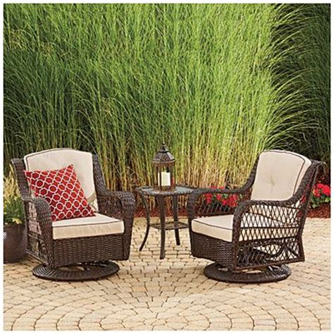 wilson fisher 174 barcelona 3 resin wicker glider chairs and table set at big lots just