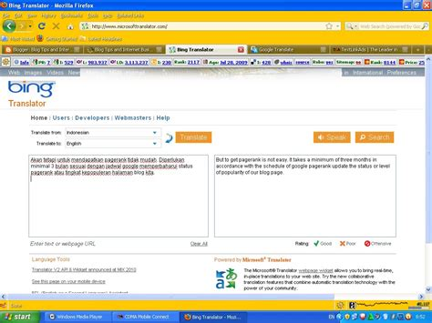 using translator or translate