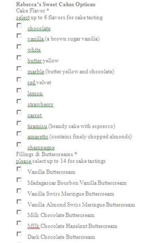 cake flavors list need help with wedding cake and filling flavors options