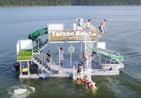 Pontoon Party Boat With Slide by The Tarzan Boat Buy Your Own Floating Waterpark Geekologie