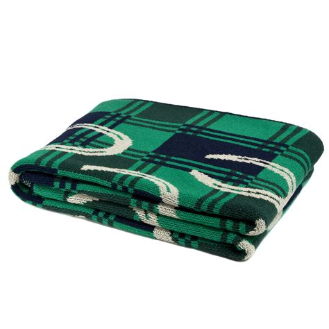 Spode Christmas Tree Grove by In2green Throws Horse Shoe Emerald Hunter Marine Flax Throw
