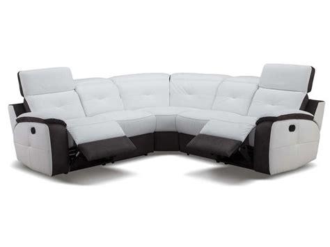 canap 233 d angle relaxation 233 lectrique en cuir orlando coloris blanc gris vente de canap 233 tissu
