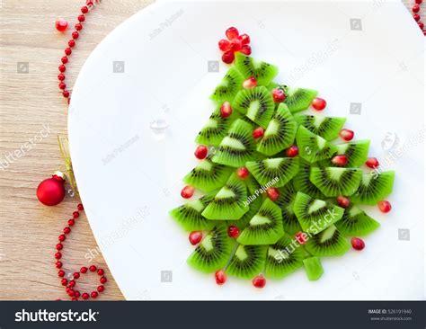 Kiwi Christmas Tree Fun Food Idea Stock Photo