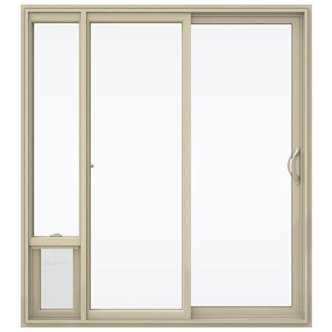 shop jeld wen v 2500 71 5 in 1 lite glass almond vinyl sliding patio door with screen at lowes
