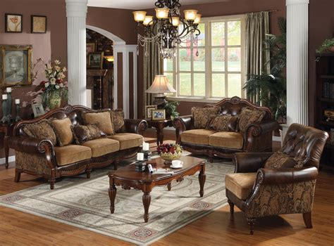 Acme Dreena Traditional Bonded Leather And Chenille Living Mossy Oak Living Room Furniture Hot Or Not How To Decorate A In Raised Ranch Designs For 2015 Built Ins Pictures Contemporary Design Styles Small Kitchen Layout Burnt Orange Leather