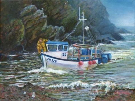 Fishing Boat Art by Original Nature Art For Sale Acrylic And Oil Paintings