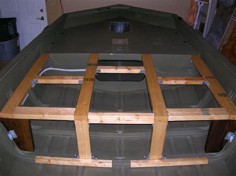 jon boat modification support braces front deck storage