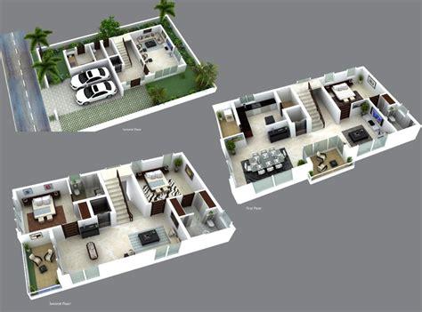 3d villa plans modern house