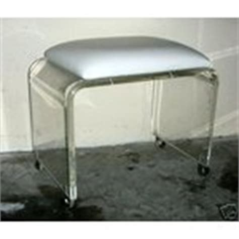 mid century modern lucite vanity stool chair on wheels